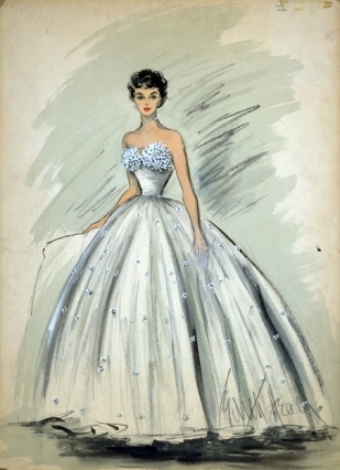 dith Head sketch for Elizabeth Taylor in A Place in the Sun (1951)