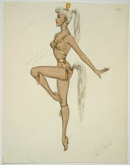 dith Head sketch for Zsa Zsa Gabor in 3 Ring Circus (1954)