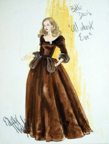 Edith Head costume sketch for Bette Davis in All About Eve (1950)