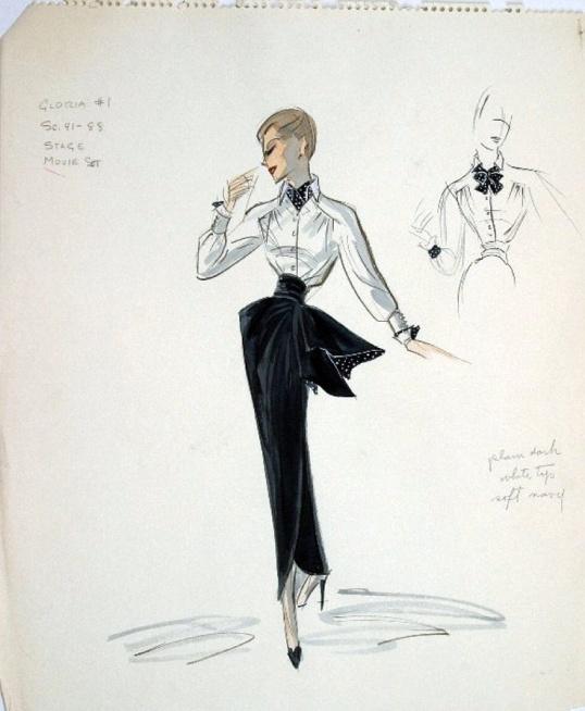 Edith Head sketch fo r Ann Blyth in The Buster Keaton Story (1957)