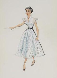 Edith Head sketch fo r Kim Novak in Vertigo (1958)