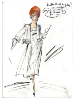 Edith Head sketch fo r Lucille Ball in Mr. and Mrs. (1964 TV Movie)