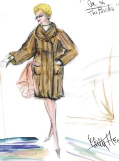 Edith Head sketch fo r Tippi Hedren in Alfred Hitchcock's The Birds (1963)