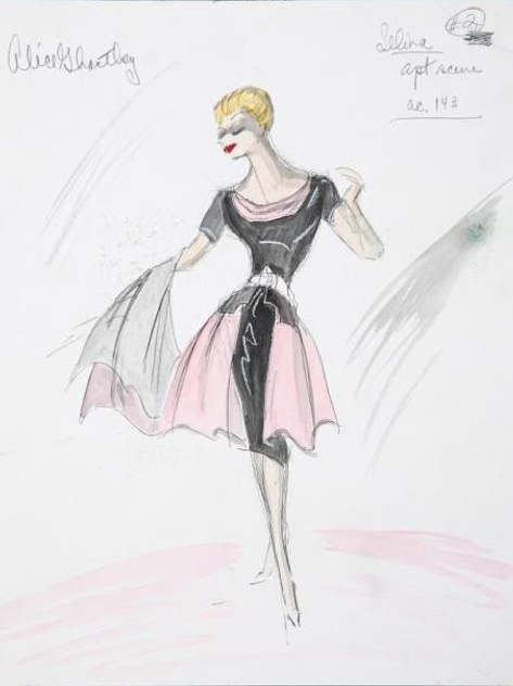 Edith Head sketch for Alice Ghostley in My Six Loves (1963)
