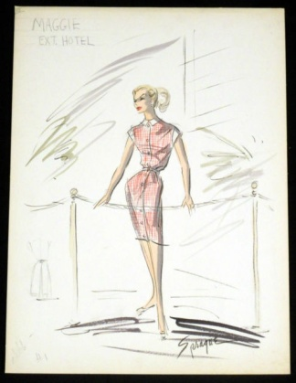 Edith Head sketch for Ann-Margret in Made in Paris (1966)