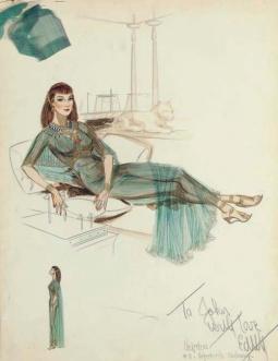Edith Head sketch for Anne Baxter as 'Nefretiri' in The Ten Commandments (1956)