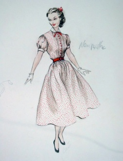 Edith Head sketch for Anne Marie Albergetti in Stars are Singing (1953)