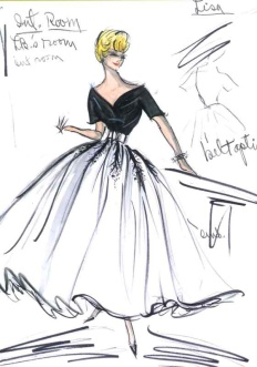 Edith Head sketch for Audrey Hepburn in Breakfast at Tiffany's (1960)