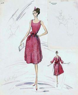 Edith Head sketch for Audrey Hepburn in Breakfast at Tiffany's (1960)
