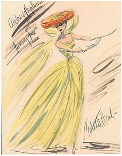 Edith Head sketch for Audrey Hepburn in Funny Face (1957