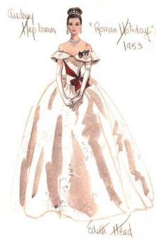 Edith Head sketch for Audrey Hepburn in Roman Holiday (1953)