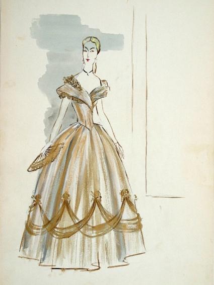 Edith Head sketch for Barbara Stanwyck in California (1947)