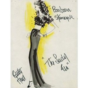 Edith Head sketch for Barbara Stanwyck in The Lady Eve (1941)