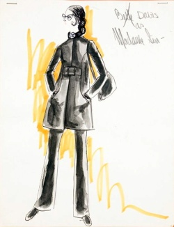Edith Head sketch for Bette Davis as Madame Sin (1972 ABC TV Movie)