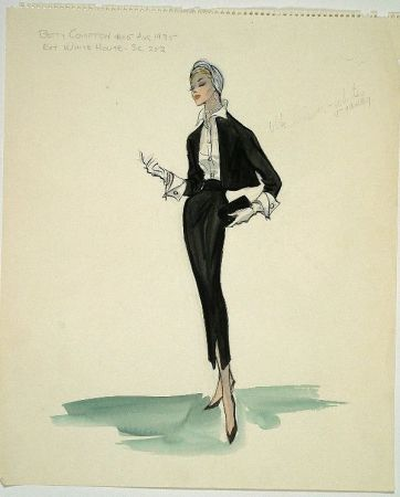 Edith Head sketch for Betty Compton