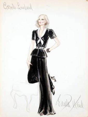 Edith Head sketch for Carole Lombard