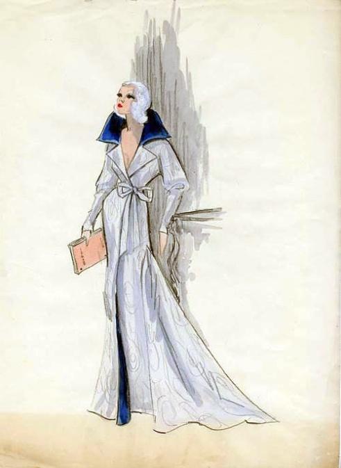Edith Head sketch for Carroll Baker in Harlow (1965)