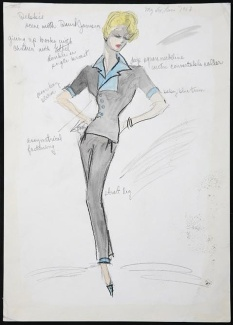 Edith Head sketch for Debbie Reynolds in My Six Loves (1963)