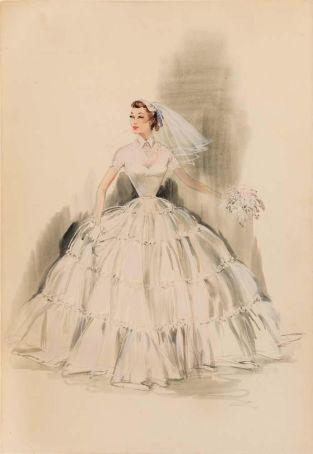 Edith Head sketch for Debbie Reynolds in The Pleasure of His Company (1961)