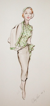 Edith Head sketch for Elaine Stritch in Scarlet Hour (1956)