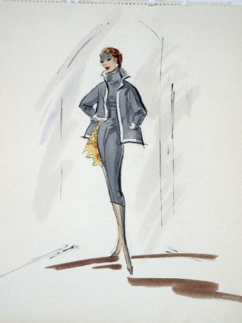 Edith Head sketch for Eleanor Parker in A Hole In The Head (1959)