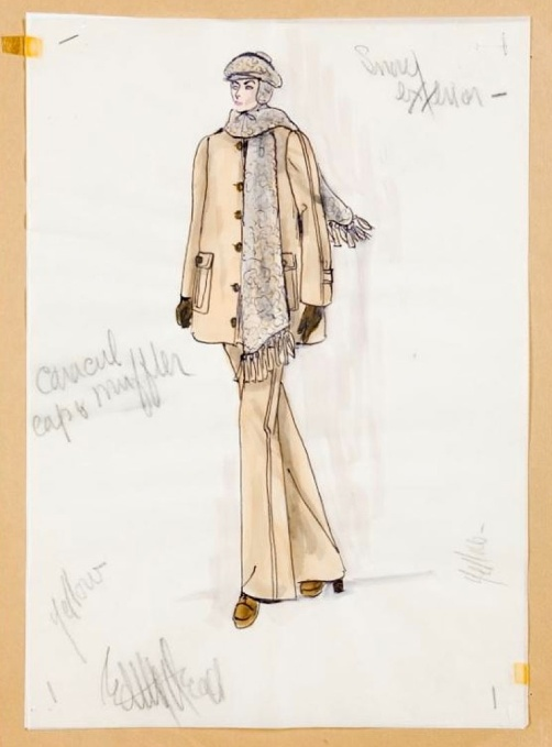 Edith Head sketch for Elizabeth Taylor in Ash Wednesday (1973)