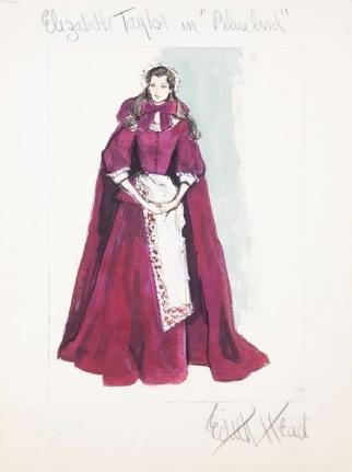 Edith Head sketch for Elizabeth Taylor in The Blue Bird (1976)
