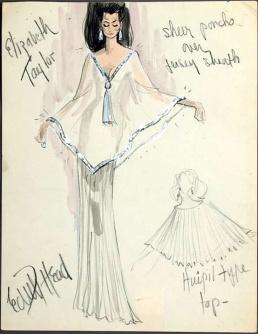 Edith Head sketch for Elizabeth Taylor