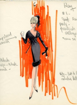 Edith Head sketch for Elke Sommer as 'Kay' in The Oscar (1966)