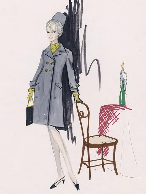 Edith Head sketch for Elke Summer