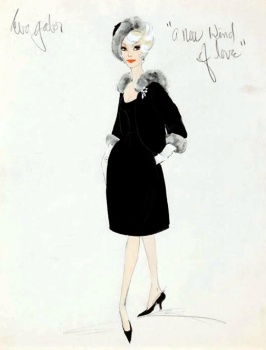 Edith Head sketch for Eva Gabor in A New Kind of Love (1963)