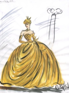 Edith Head sketch for Grace Kelly in To Catch A Thief (1955)