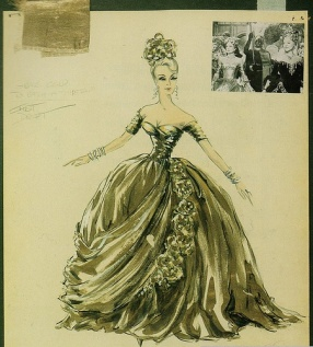 Edith Head sketch for Grace Kelly's fancy-dress gown in Alfred Hitchcock's %22To Catch a Thief.%22