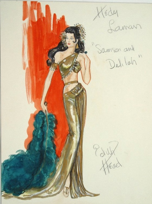 Edith Head sketch for Hedy Lamarr in Samson and Delilah (1950)