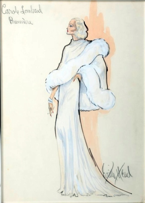Edith Head sketch for Jill Clayburgh in Gable and Lombard (1976)