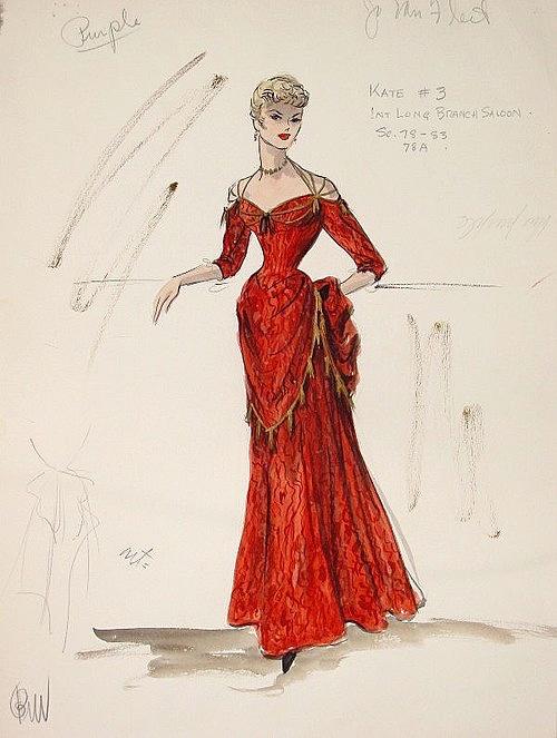Edith Head sketch for Jo Van Fleet in Gunfight at the O.K. Corral (1957)