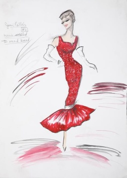 Edith Head sketch for Joan Collins
