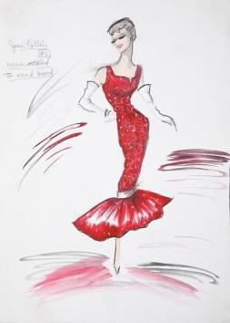 Edith Head sketch for Joan Collins