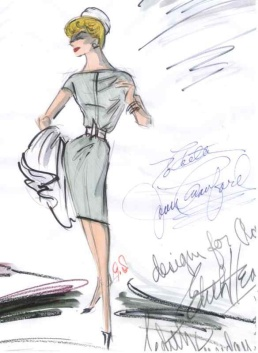 Edith Head sketch for Joan Crawford's personal wardrobe (also signed by Joan Crawford)
