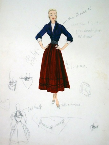 Edith Head sketch for Joan Fontaine in September Affair (1950)