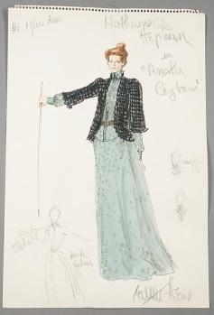 Edith Head sketch for Katharine Hepburn in Rooster Cogburn (1975)