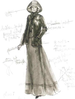 Edith Head sketch for Katherine Hepburn in Rooster Cogburn (1975)