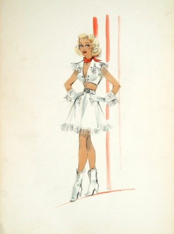 Edith Head sketch for Marie Wilson in My Friend Irma Goes West (1950)