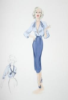 Edith Head sketch for Marilyn Maxwell in Off Limits (1953)