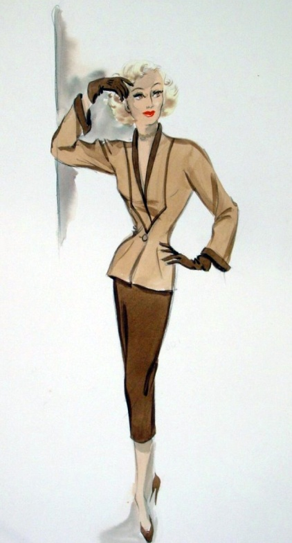 Edith Head sketch for Marilyn Maxwell in Off Limits (1953)