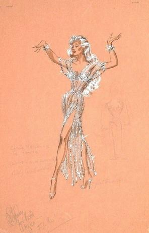 Edith Head sketch for Marilyn Maxwell