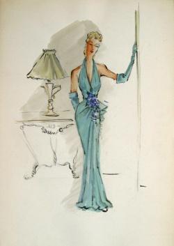 Edith Head sketch for Olivia de Havilland in To Each His Own (1946)