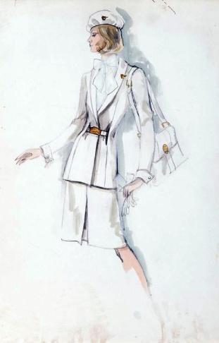 Edith Head sketch for Pan-Am's 1970s Stewardesses