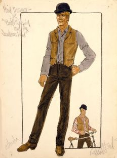 Edith Head sketch for Paul Newman in Butch Cassidy and the Sundance Kid (1969)