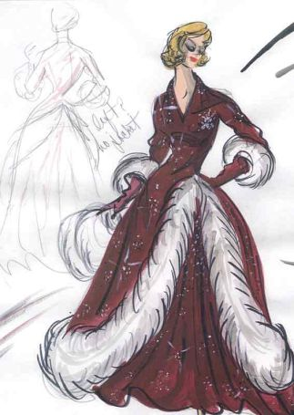 Edith Head sketch for Rosemary Clooney in White Christmas (1954)